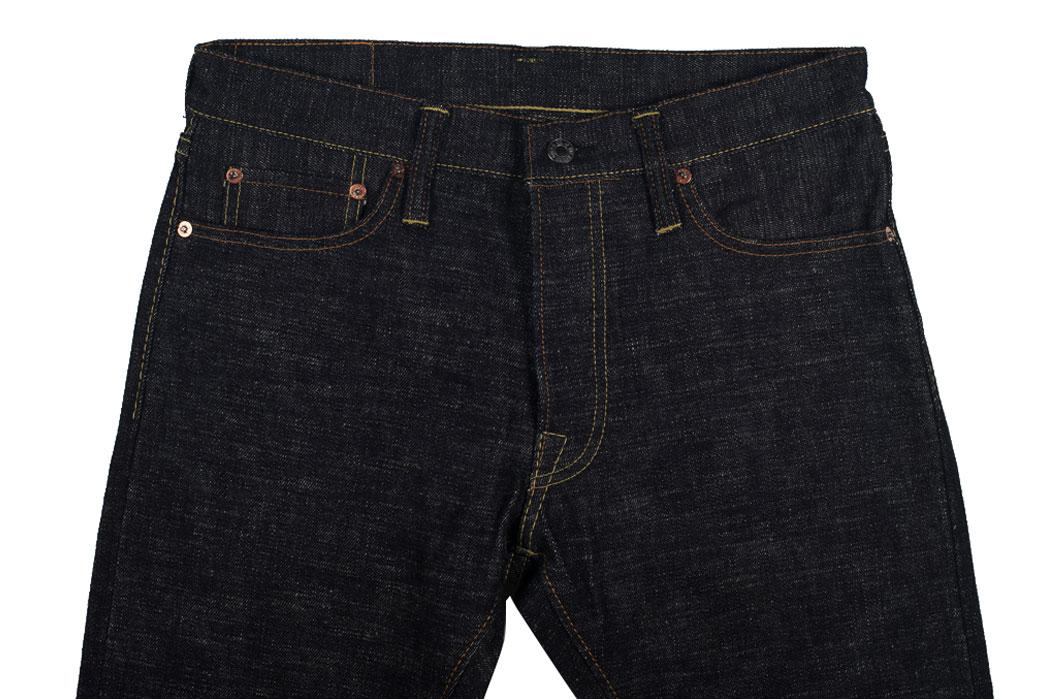 Self-Edge-x-trike-Gold-Wavy-Standard-Short-Slub-Selvedge-Jeans-Front
