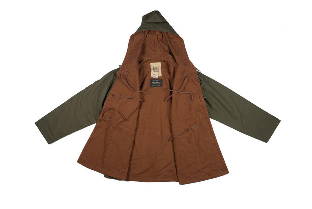 monitaly-vancloth-reversible-field-shell-jackets-olive-front-interior