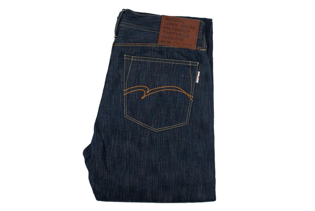 Studio-D'Artisan-Tokushima-Natural-Indigo-Dyed-Denim-Jeans-Folded