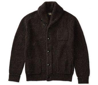 fav-rrl-black-indigo-cotton-blend-donegal-cardigan-front
