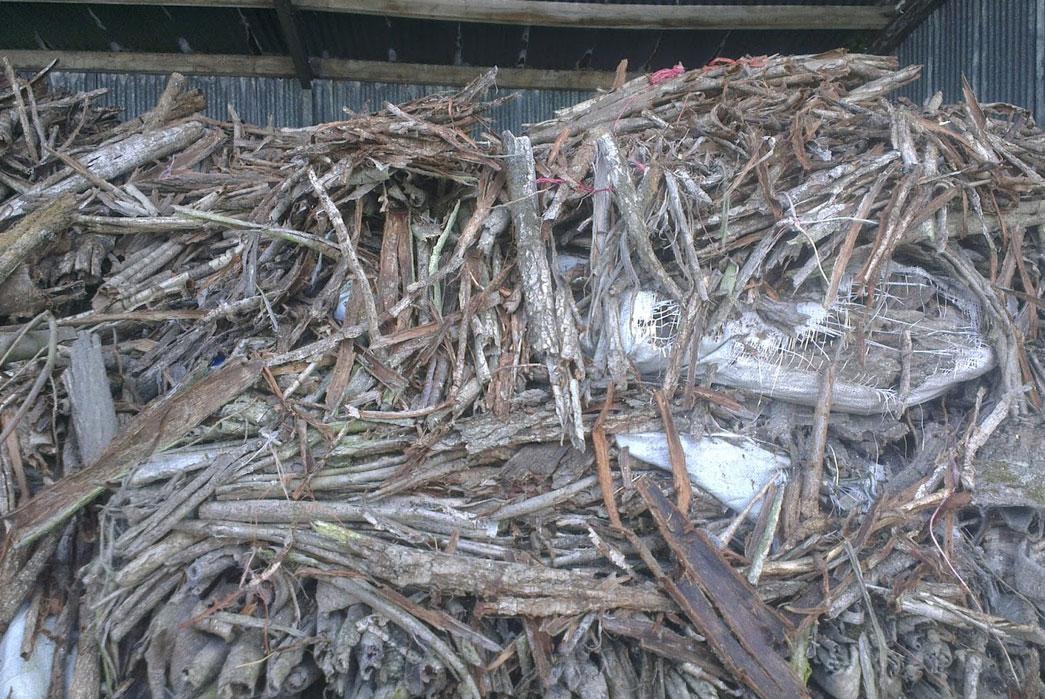 Oak bark drying at Baker's Tannery. Image via carreducker.blogspot.ca/