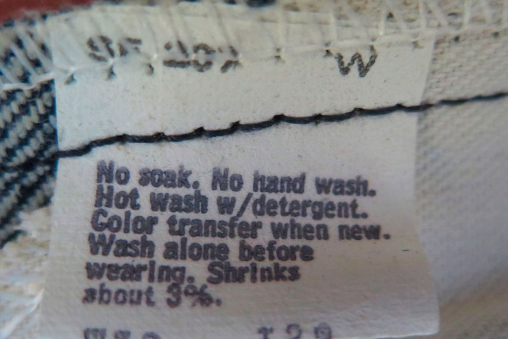 Stitched Levi's care label with the SF 207 line at the very top (Image via eBay)