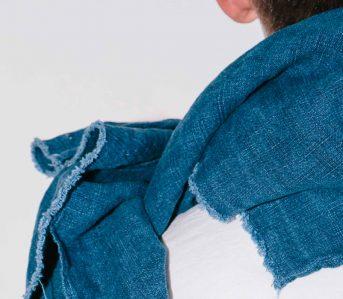 Blluemade's indigo linen scarf