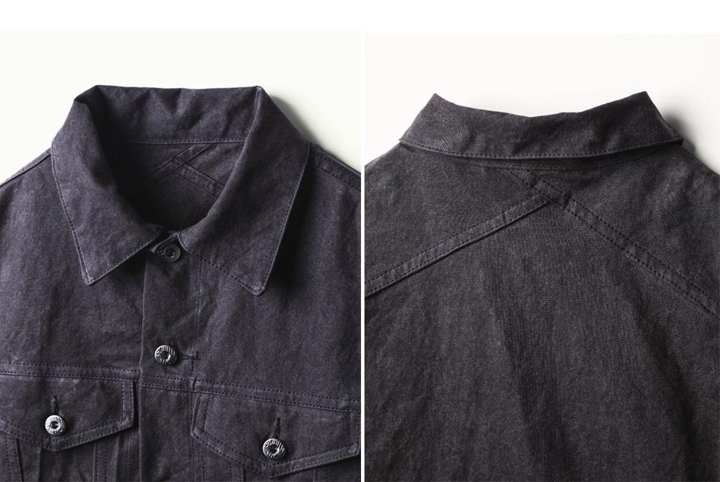 the-woodlands-x-3sixteen-type-iii-waxed-trucker-jacket-front-back-detailed