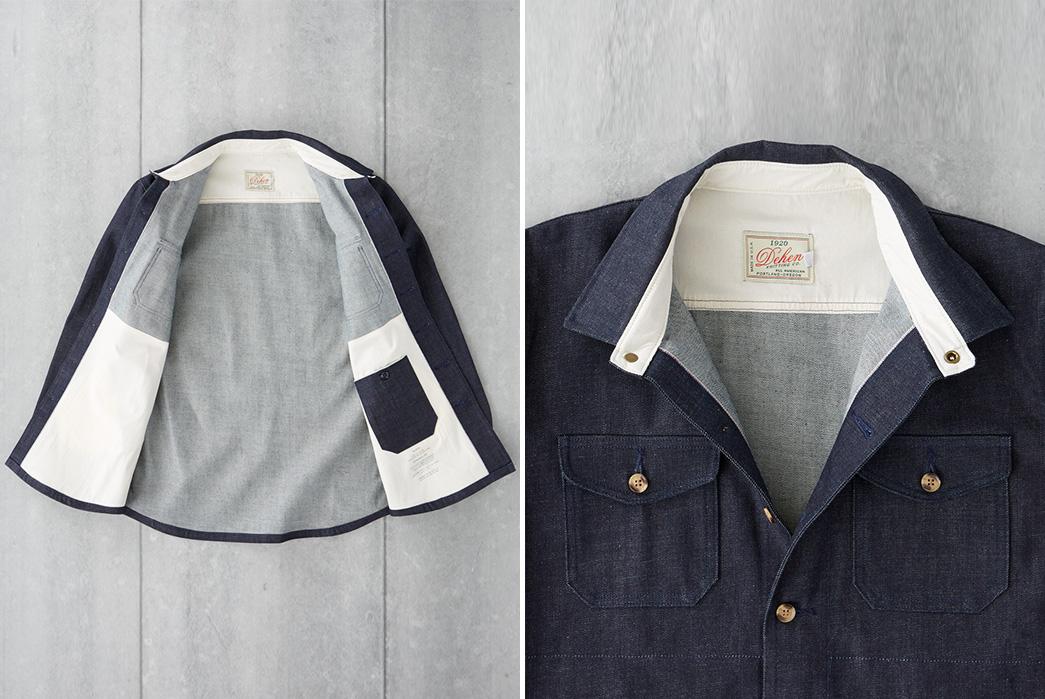 dehen-1920-13-5oz-cone-mills-selvedge-crissman-overshirt-front-open-and-collar