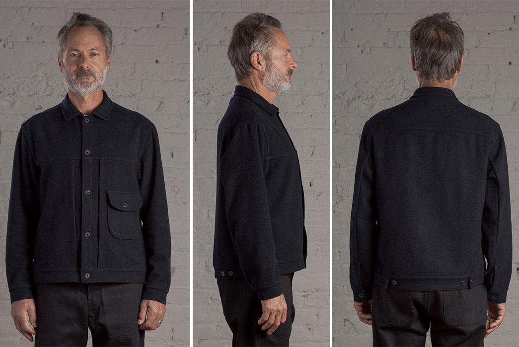 evan-kinori-melton-wool-pleated-jacket-model-front-side-back