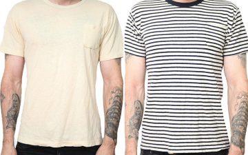 left-field-nyc-hemp-cotton-tube-knit-pocket-tees-front-model-front-natural-hemp-and-hemp-navy