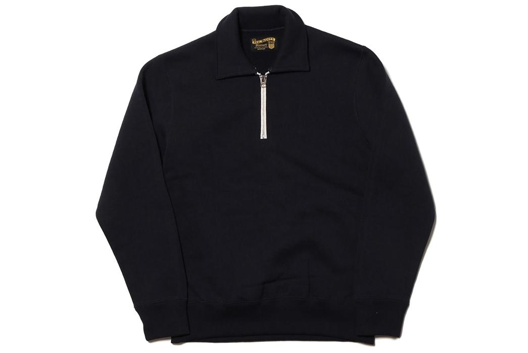 the-real-mccoys-usaaf-1-4-zip-loopwheel-sweatshirt-front