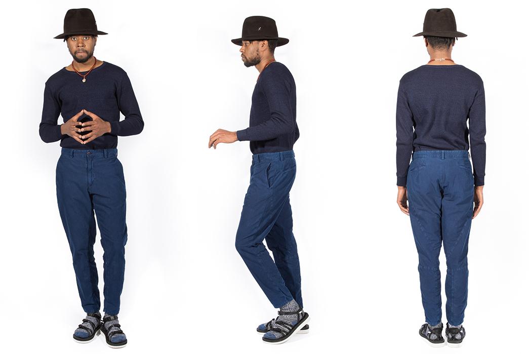 blue-blue-japan-indigo-hand-dyed-moleskin-gardener-pants-model-front-side-back