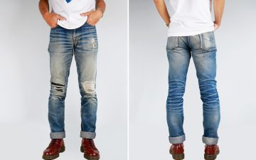 Fade of the Day - Mischief Denim SR-003 (2.5 Years, 3 Washes, 1 Soak)-model-front-back