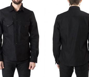 shockoe-atelier-candiani-black-selvedge-field-shirt-model-front-back