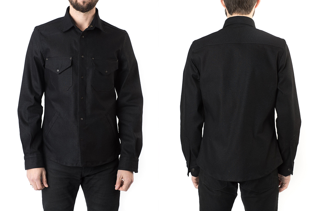 shockoe-atelier-candiani-black-selvedge-field-shirt-model-front-back