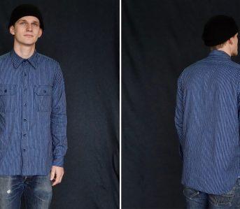 tellason-japanese-indigo-striped-selvedge-clampdown-shirt-model-front-back