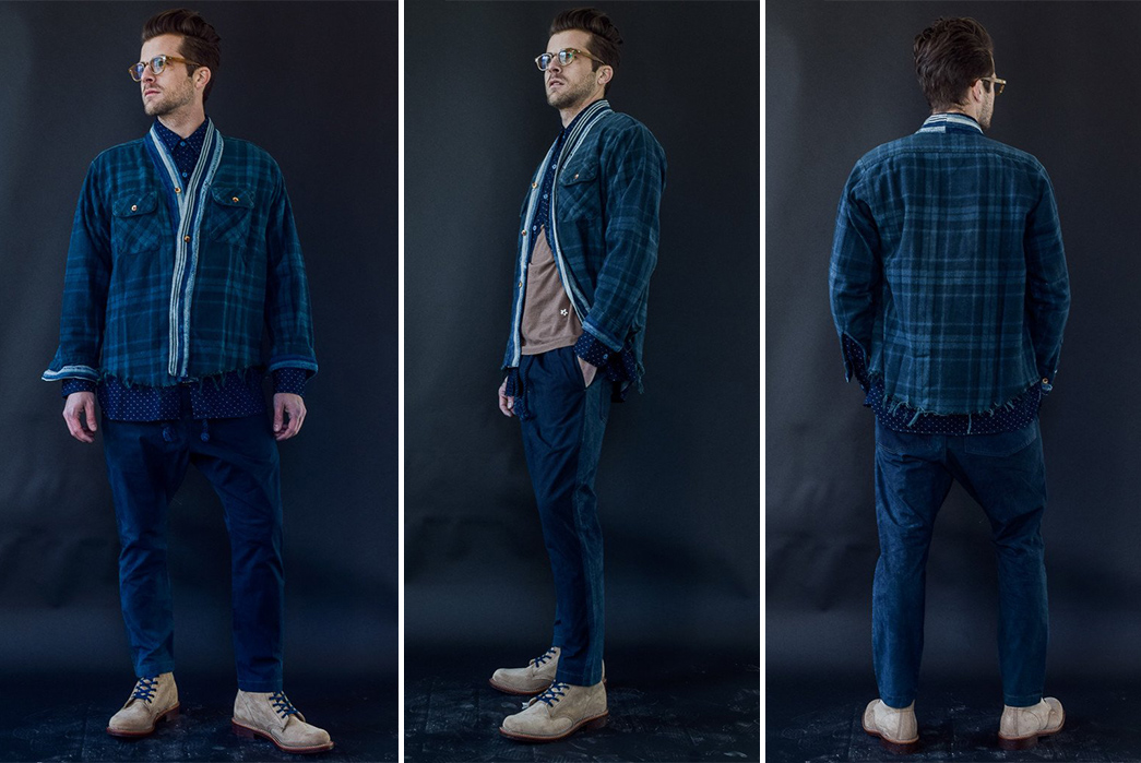 dr-collectors-indigo-overdyed-flannel-noragi-shirt-front-side-back