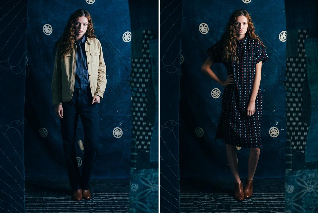 kiriko-x-bridge-burn-release-indigo-laden-capsule-collection-female-model-beige-jacket-and-dress