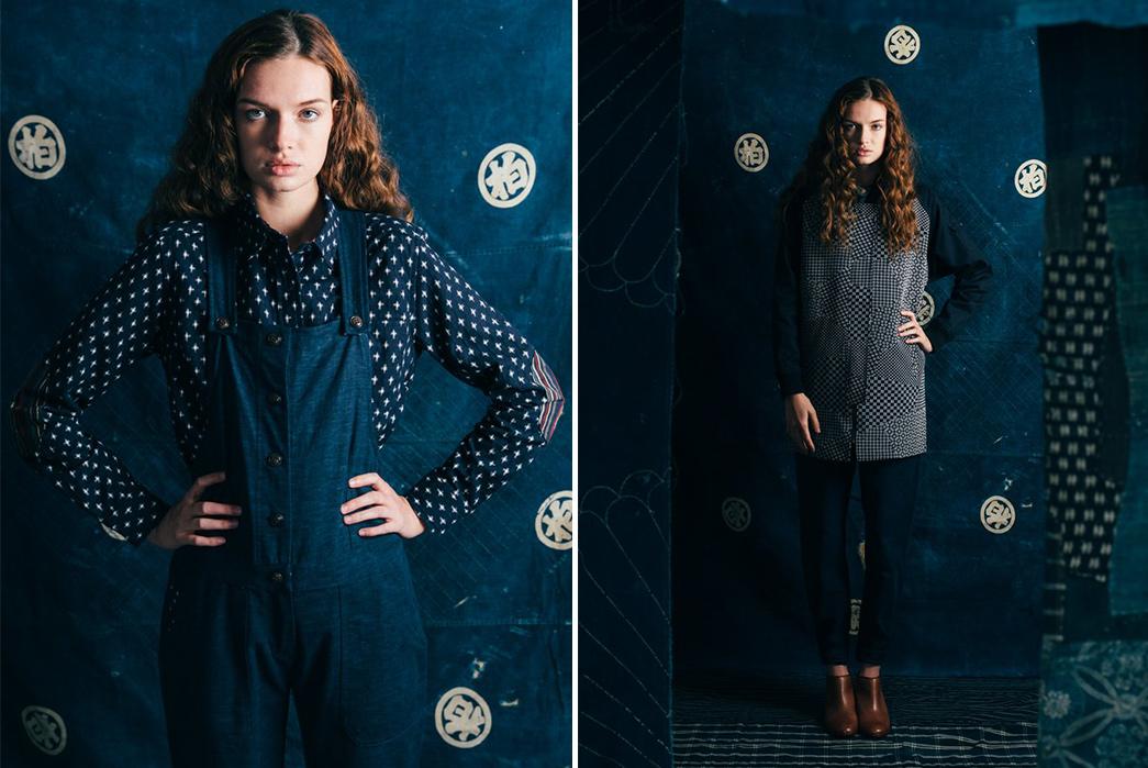 kiriko-x-bridge-burn-release-indigo-laden-capsule-collection-female-model-blue-pants