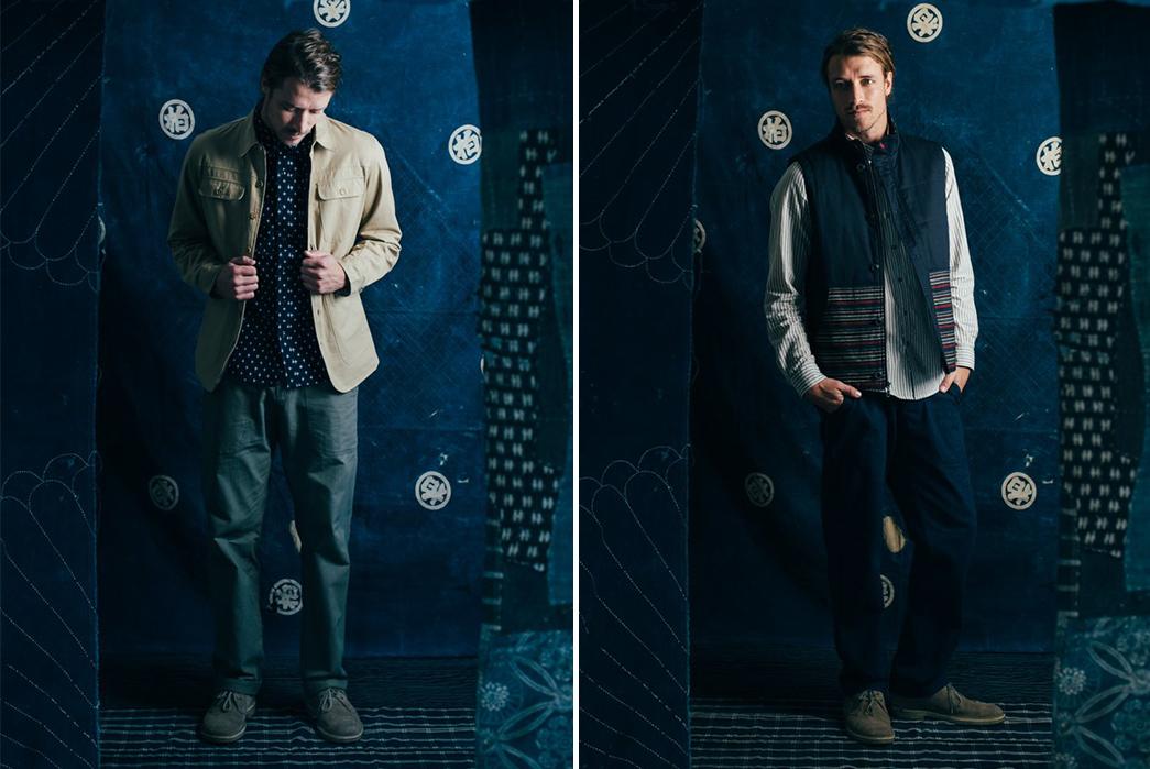 kiriko-x-bridge-burn-release-indigo-laden-capsule-collection-male-model-beige-and-blue-jacket