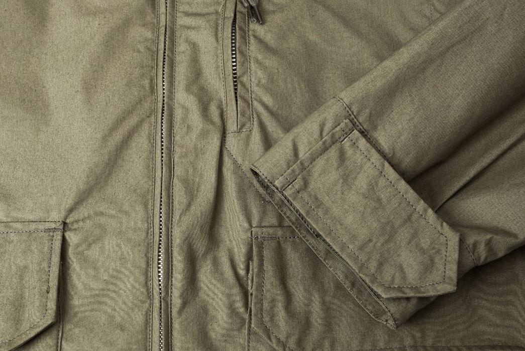 Arpenteur-Mission-II-Waterproof-Gabardine-Parka-olive-front-sleeve