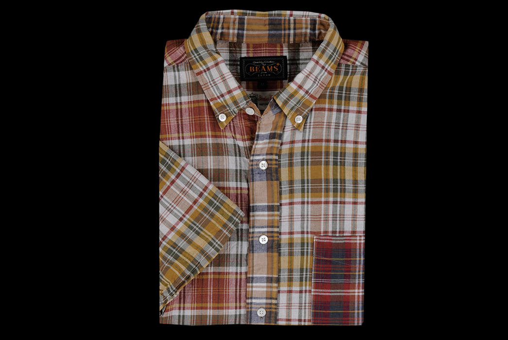 Beams+-Madras-Crazy-Button-Down-Shirt-front-folded
