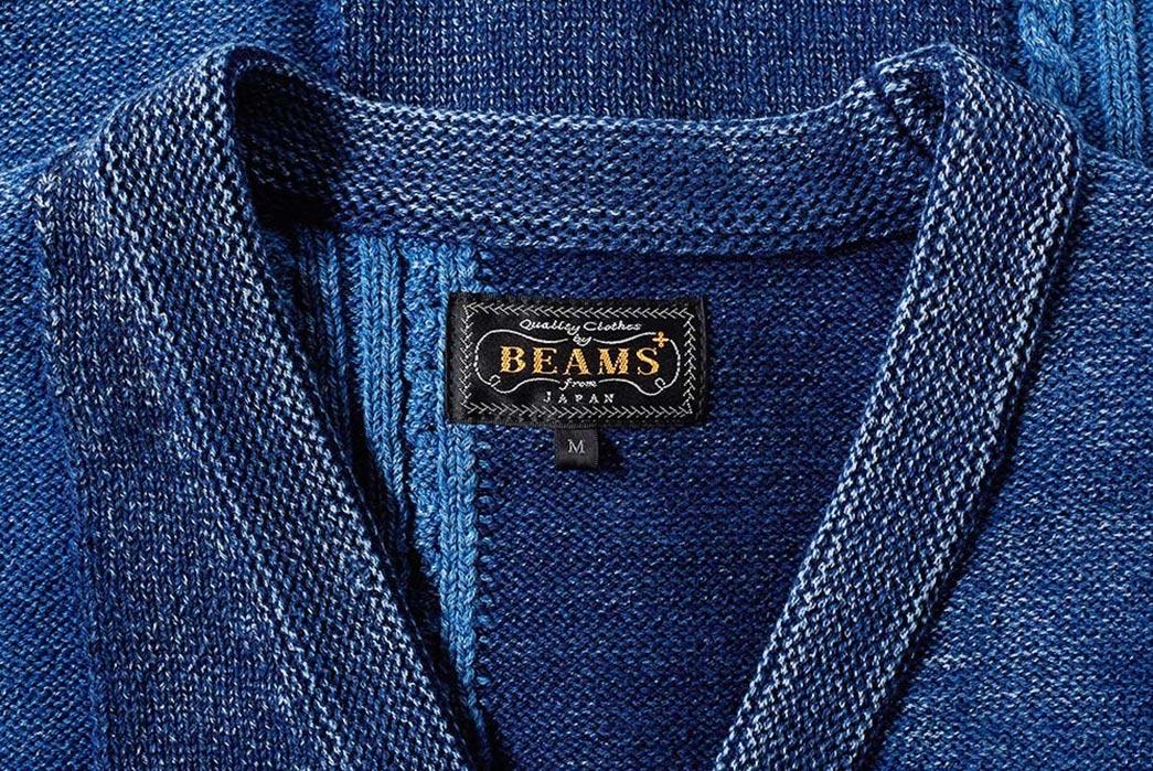 Beams-Plus-Indigo-Patchwork-Cardigan-front-collar