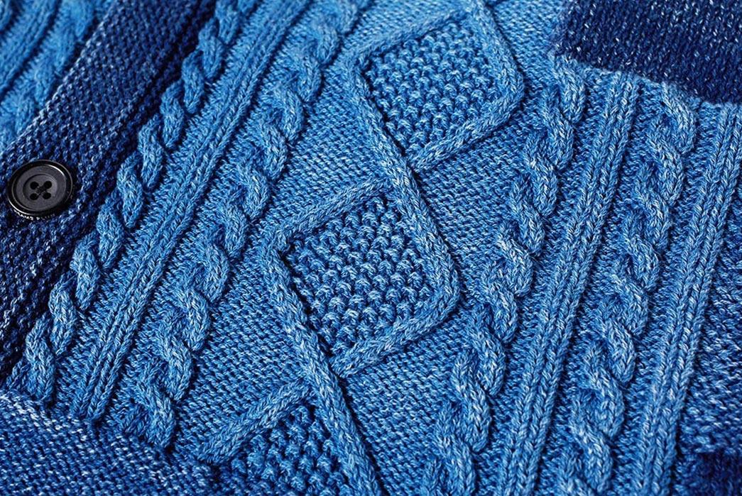 Beams-Plus-Indigo-Patchwork-Cardigan-front-detailed