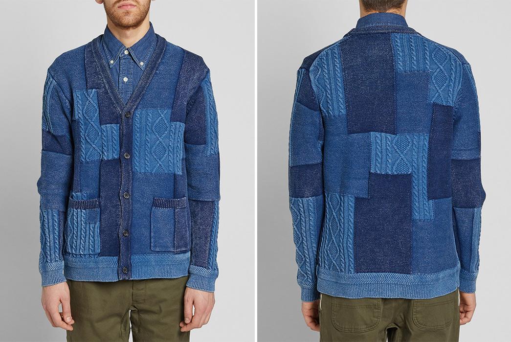Beams-Plus-Indigo-Patchwork-Cardigan-model-front-back