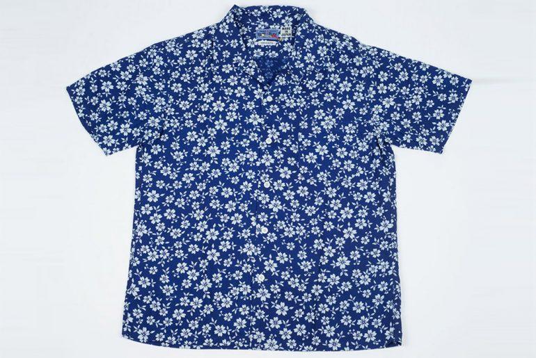 Blue-Blue-Japan-Short-Sleeve-Bassen-Indigo-Dyed-Blooming-Sakura-Print-Shirt-front