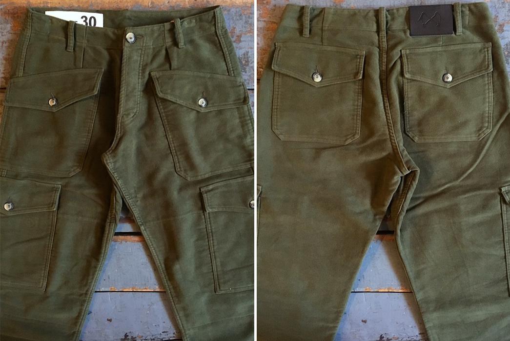 Cargo-Pants---Five-Plus-One-Plus-One---Bleu-de-Paname-Treillis-Suedois-Pants-Olive-Moleskin-front-back