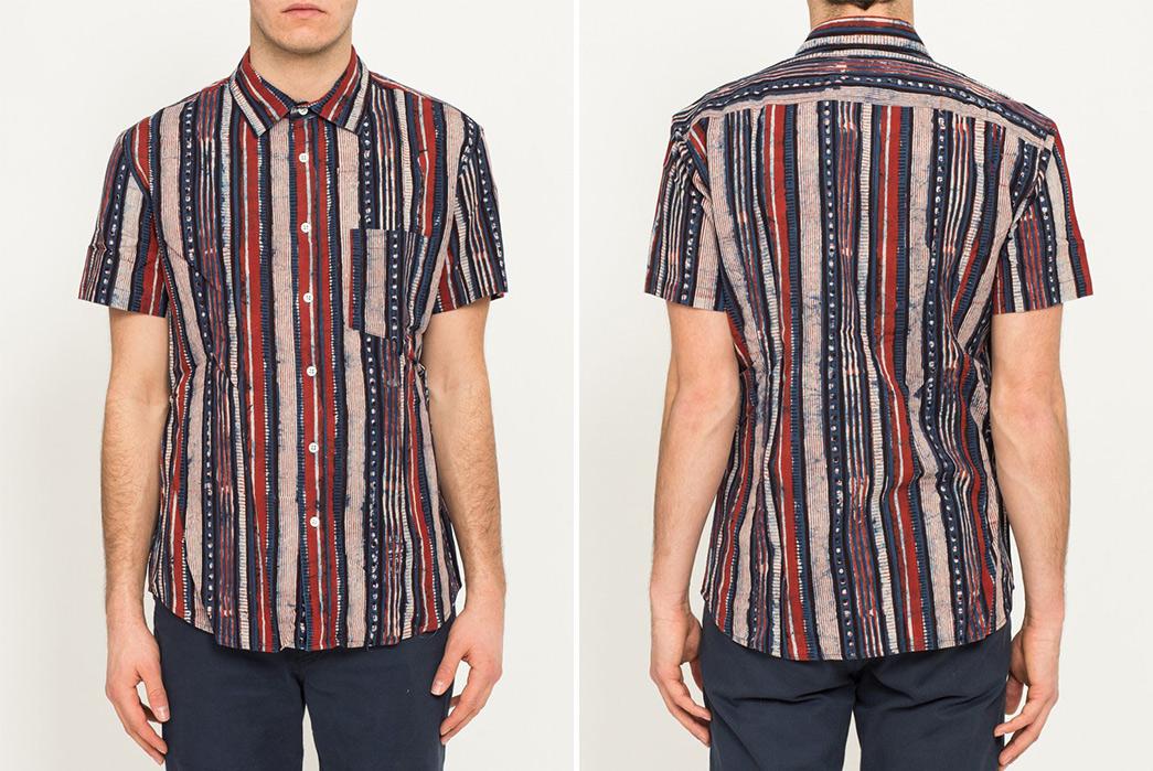 Corridor-NYC-Handblock-Thick-Stripe-Shirt-model-front-back