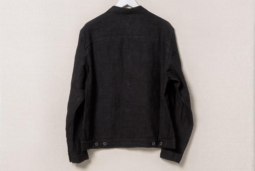 Evan-Kinori-Black-Linen-Pleated-Jacket-back
