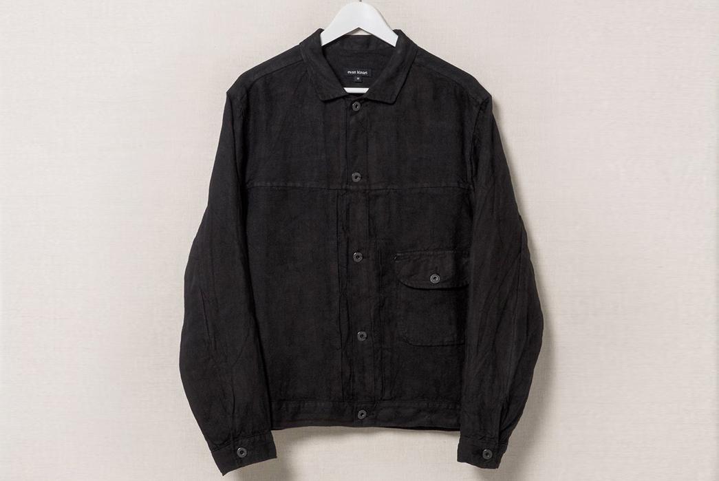 Evan-Kinori-Black-Linen-Pleated-Jacket-front