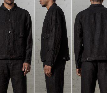 Evan-Kinori-Black-Linen-Pleated-Jacket-model-front-side-back