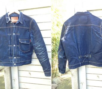 Fade-of-the-Day---Iron-Heart-IHxVS-T1-DD-jacket-(1.5-Years,-3-Washes,-2-Soaks)-front-back