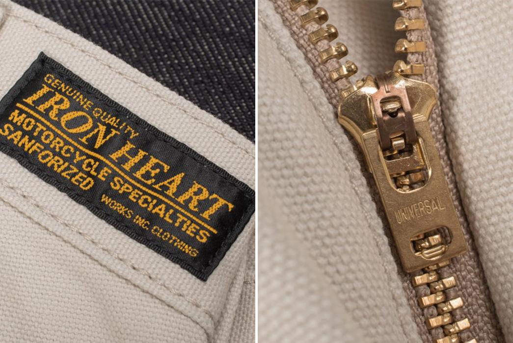 Iron-Heart-IH-816-IVO-Ivory-17oz.-Duck-Work-Pants-label-and-zipper