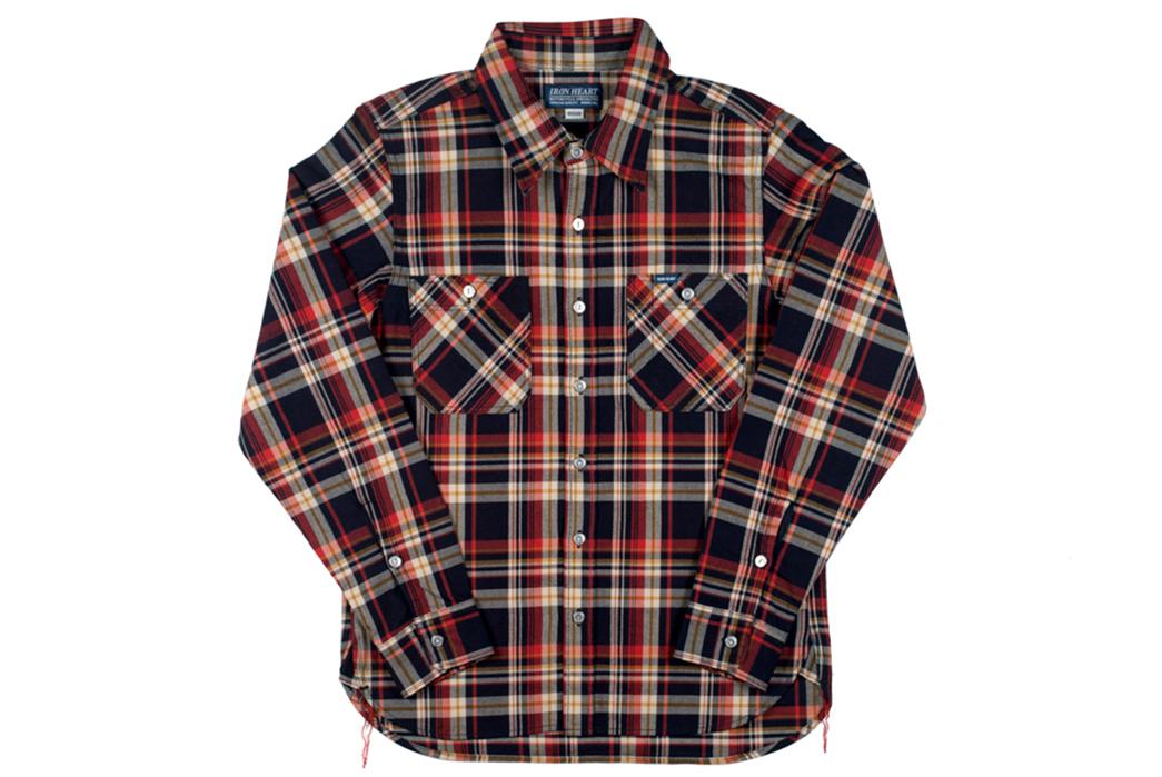 Iron-Heart-Indigo-Dyed-10oz.-Selvedge-Flannel-Shirt-front