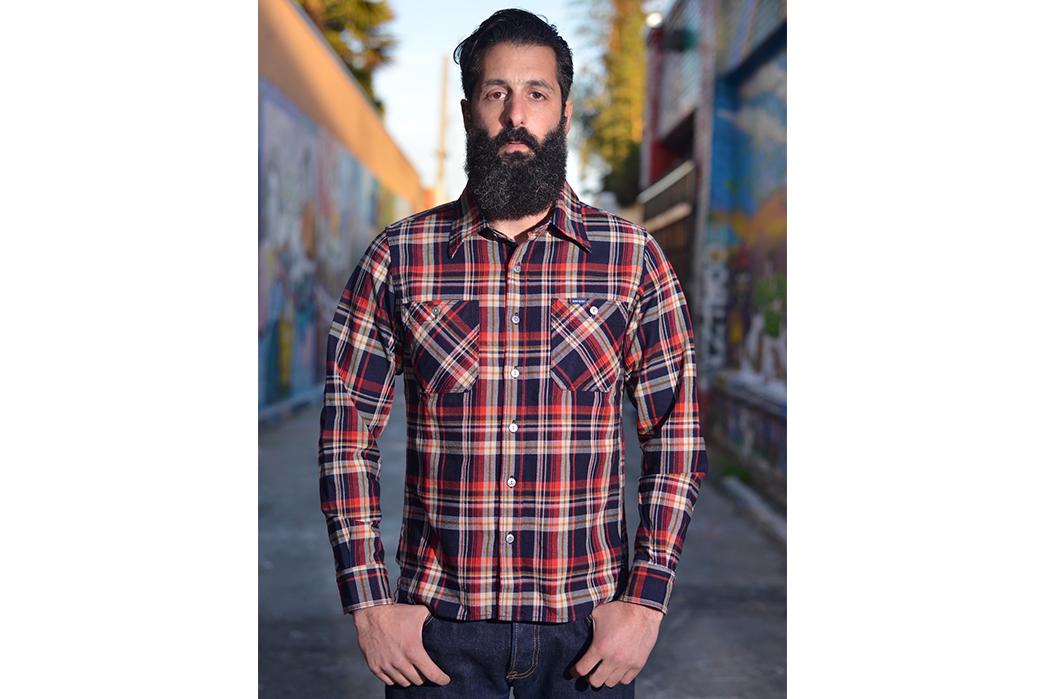 Iron-Heart-Indigo-Dyed-10oz.-Selvedge-Flannel-Shirt-model-front