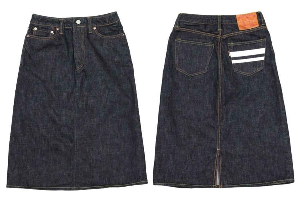 Momotaro-15.7oz.-GTB-Selvedge-Denim-Skirt-front-back