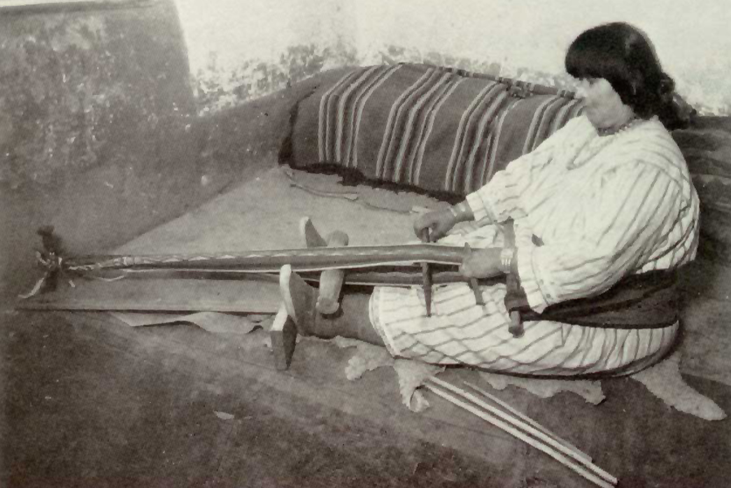 Navajo-Blankets-and-Rugs-Pueblo-woman-operating-a-backstrap-loom,-also-called-a-belt-loom,-in-the-19th-century.-Image-via-Sarweb