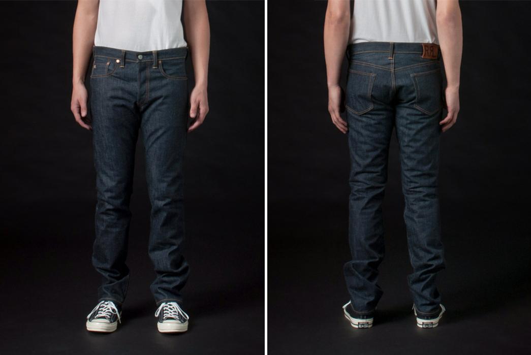 RRL-Slim-Fit-Rigid-Raw-Denim-Jeans-model-front-back