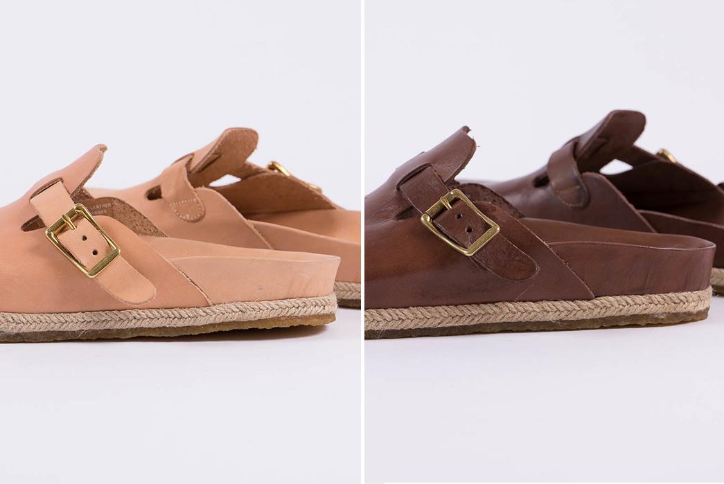 Yuketen's-Take-on-the-Boston-Sandal-natural-and-brown-pair-side-detailed
