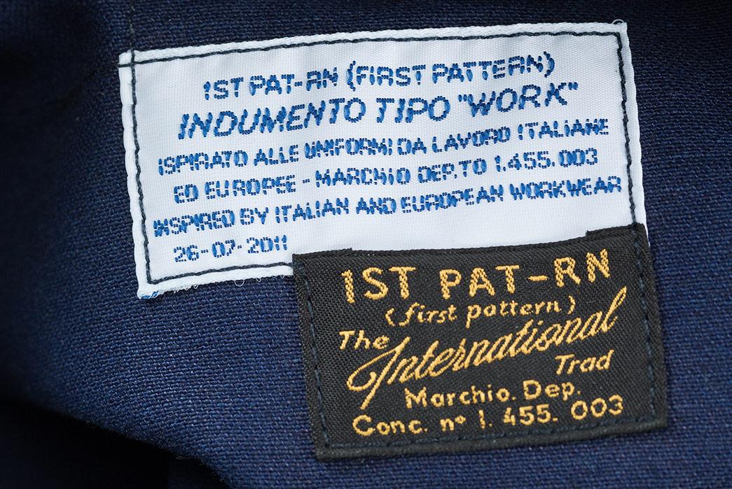 1st-PAT-RN-Indigo-Broken-Twill-Laboratorio-Jacket-labels