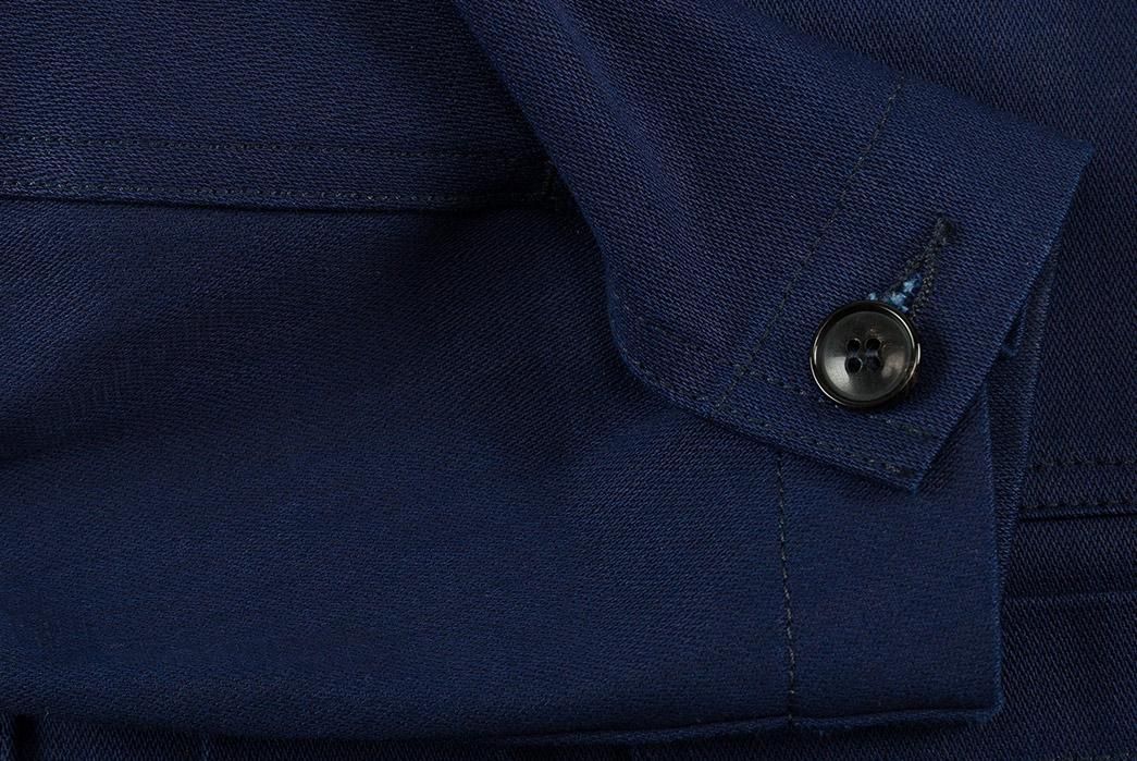 1st-PAT-RN-Indigo-Broken-Twill-Laboratorio-Jacket-sleeve
