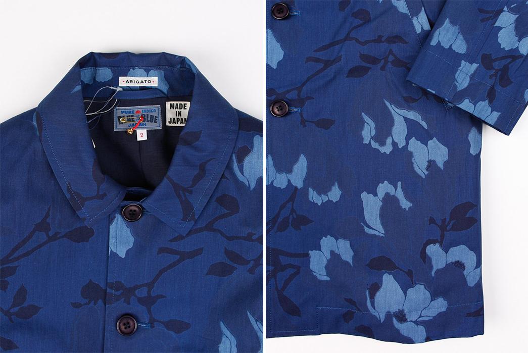 Blue-Blue-Japan-Indigo-Cotton-Weather-Magnolia-Single-Coat-front-collar-and-sleeve