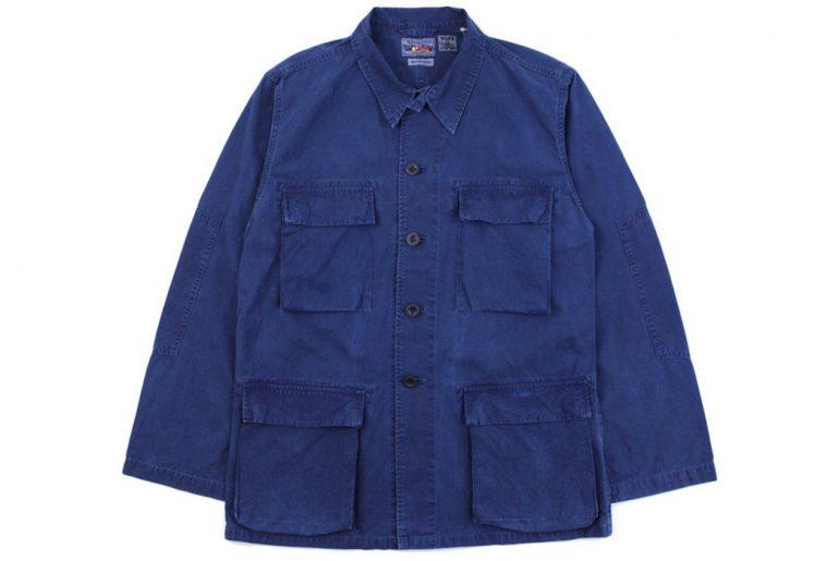 Blue-Blue-Japan-Indigo-Hand-Dyed-Cotton-Poplin-Four-Pocket-Shirt-Jacket-front</a>
