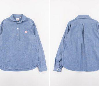 Danton-Indigo-Chambray-Shawl-Collar-Pullover-Shirt-front-back