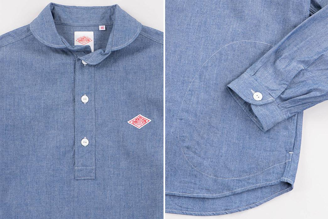Danton-Indigo-Chambray-Shawl-Collar-Pullover-Shirt-front-detailed-and-sleeve