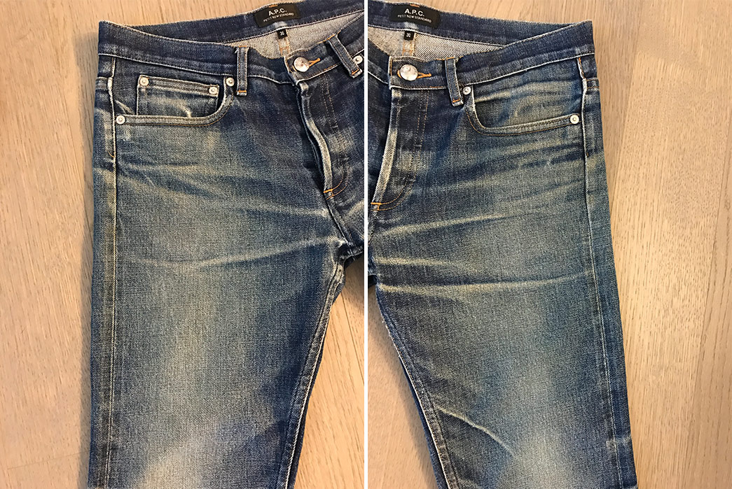 Fade-of-the-Day---A.P.C.-Petit-New-Standard-(2-Years,-2-Washes,-3-Soaks)-front-left-and-right-sides