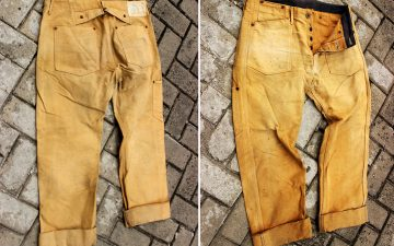 Fade-of-the-Day---Rising-Sun-Worker-Jeans-Brown-(2-Years,-1-Wash,-5-Soaks)-front-back