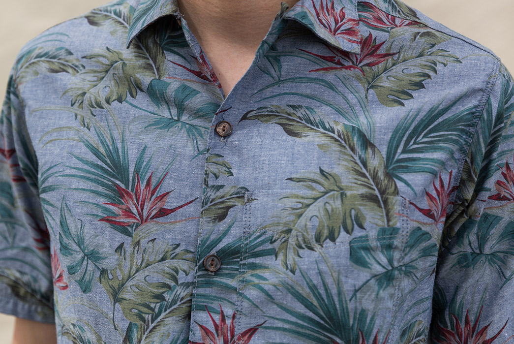 Freenote-Combines-Indigo-and-Floral-for-Their-Latest-Aloha-Shirt-model-front-detailed
