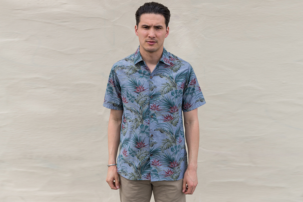 Freenote-Combines-Indigo-and-Floral-for-Their-Latest-Aloha-Shirt-model-front